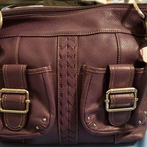 Tignanello Leather Shoulder Bag Deep Plum